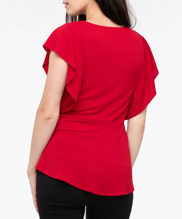 Ruffle Sleeve Peplum Top, Crimson, hi-res