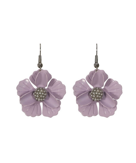 Metal Flower Drop Earring, Iced Violet/Rhodium, hi-res