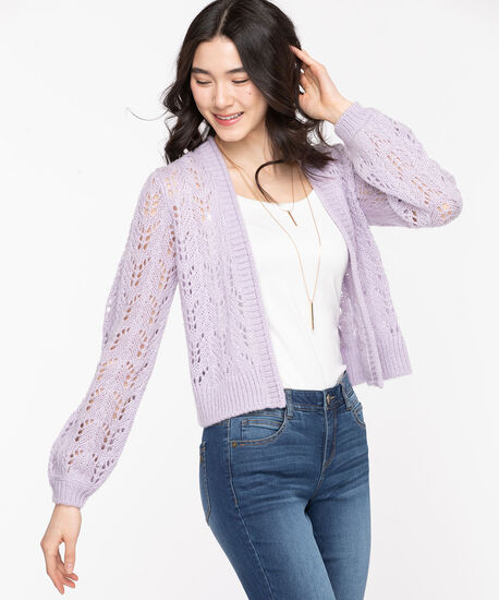 Pointelle Cropped Open Cardigan, Orchid Petal, hi-res