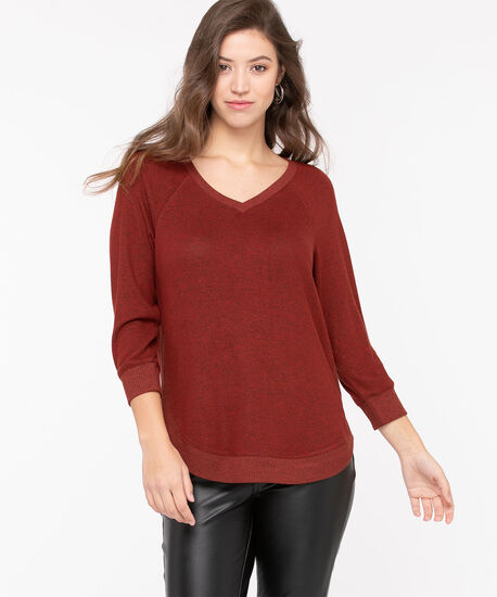 Ribbed Trim Lightweight Knit Pullover, Roasted Beet Mix, hi-res