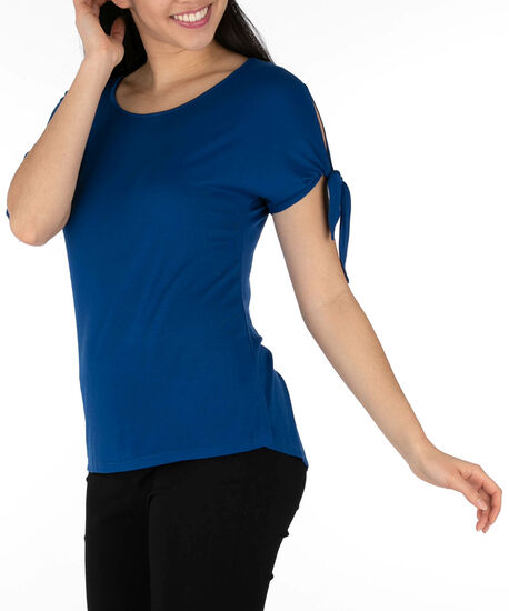 Tie-Sleeve Scoop Neck Top, Cadet Blue, hi-res