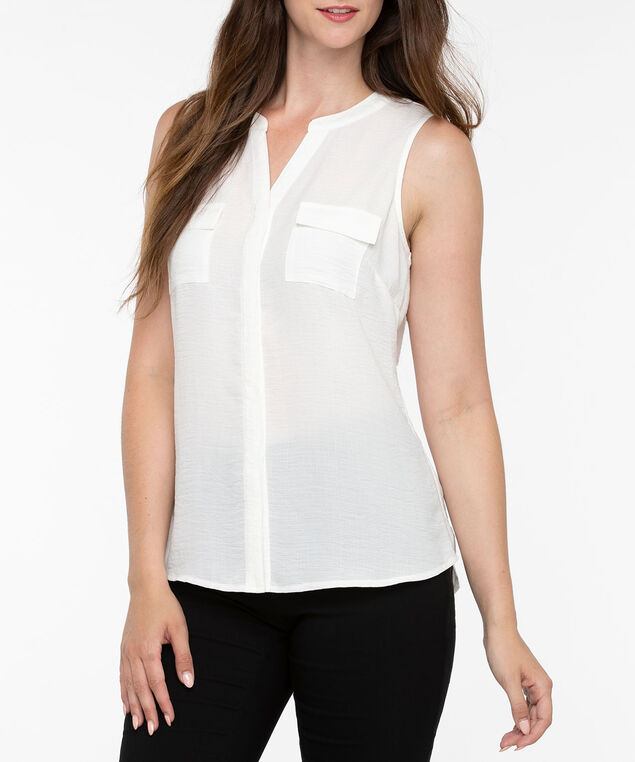 Sleeveless Hidden Button Henley Blouse, Pearl, hi-res