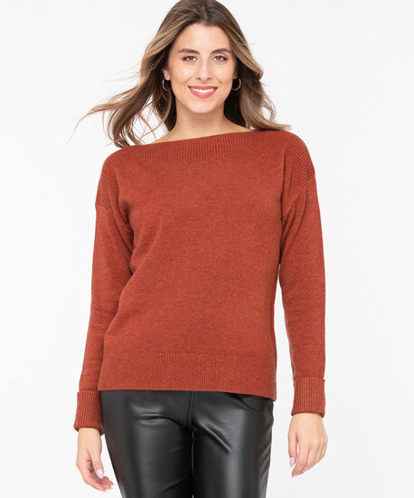 Cuffed Boatneck Pullover Sweater, Rust, hi-res