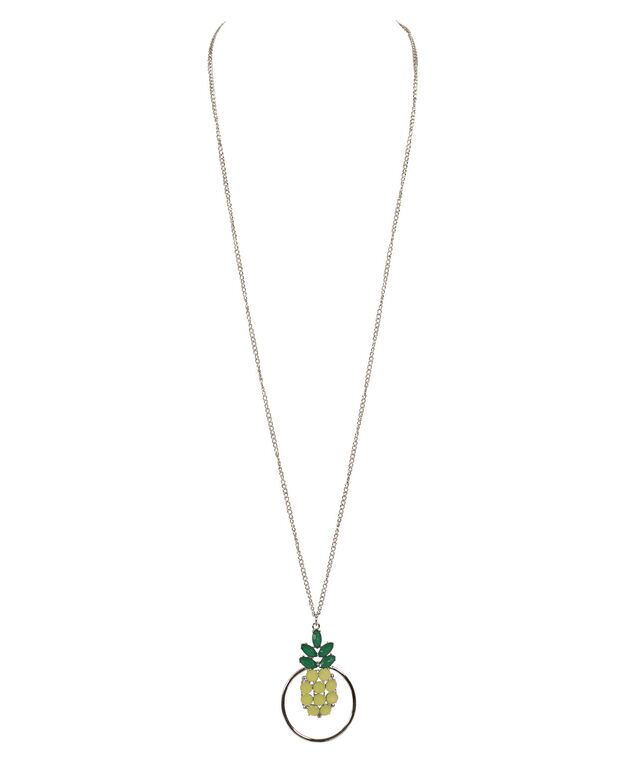 Crystal Pineapple & Hoop Necklace, Yellow/Green/Rhodium, hi-res