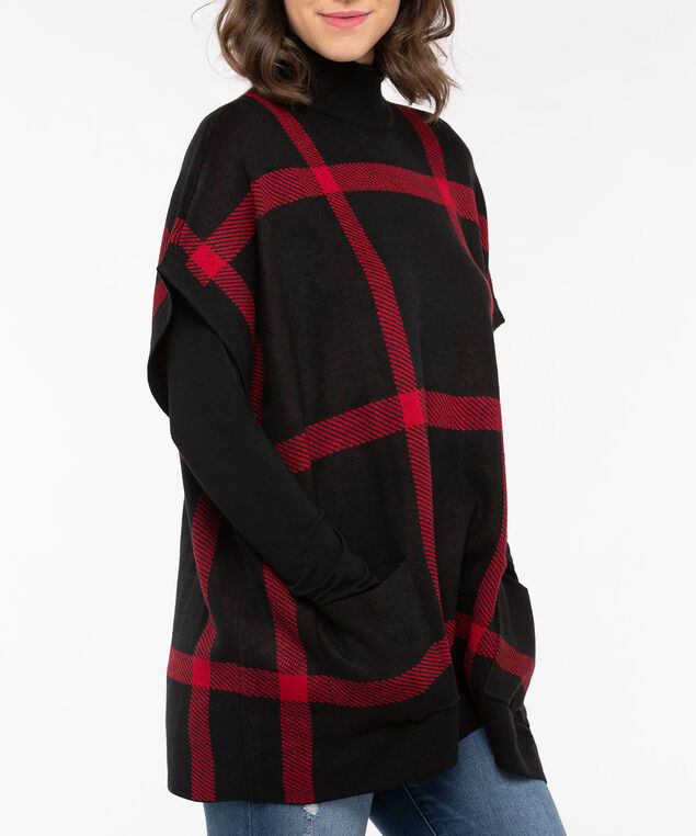 Plaid Mock Neck Poncho, Crimson/Black, hi-res