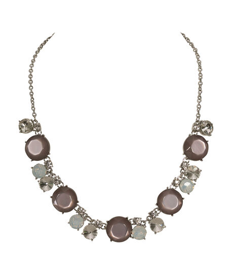 Faceted Crystal & StoneNecklace, Grey/Clear/Rhodium, hi-res