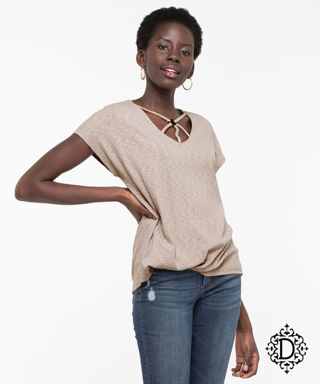 Democracy Cage Neck Extended Sleeve Top, Sand, hi-res