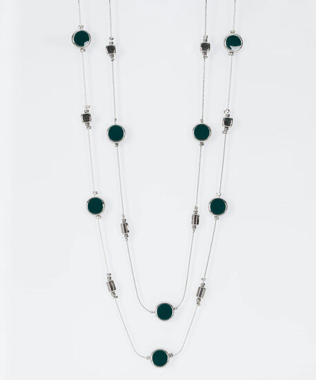 Stationed Bead Necklace Set, Midnight Teal/Rhodium, hi-res