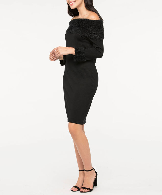 Plush Detail Sweater Dress, Black, hi-res