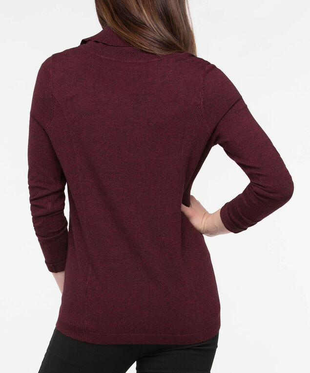 Split Neck Button Detail Sweater, Burgundy, hi-res