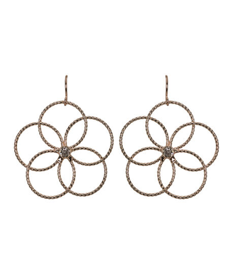 Wire Flower Earring, Clear/Rose Gold, hi-res