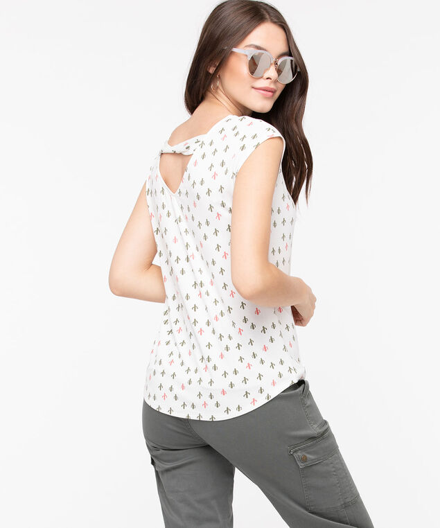 Twist Back Extended Sleeve Top, Pearl/Thyme/Bellini, hi-res