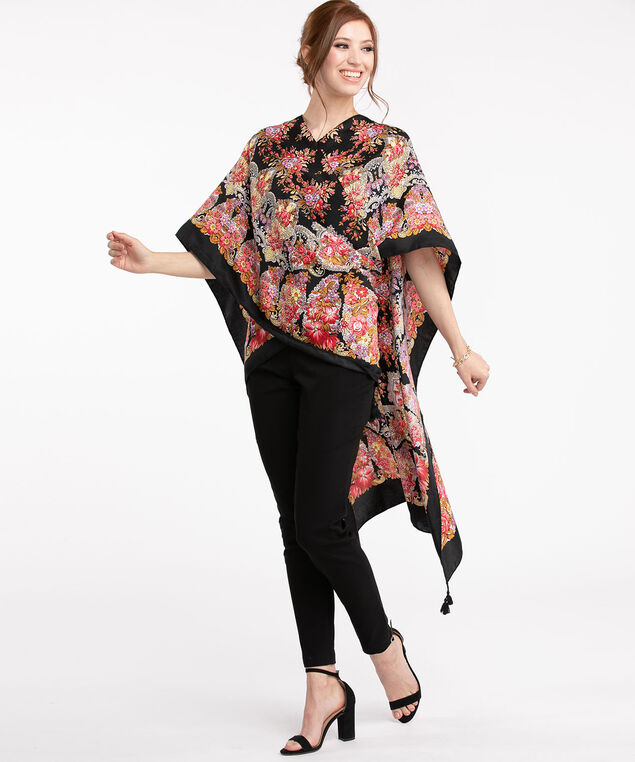 Floral Bordered Ruana, Red/Black