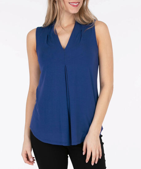 Sleeveless Pleat Front V-Neck Top, Deep Sapphire, hi-res