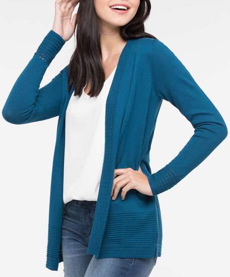 Pointelle Ottoman Stitch Open Cardigan, Steel Blue, hi-res