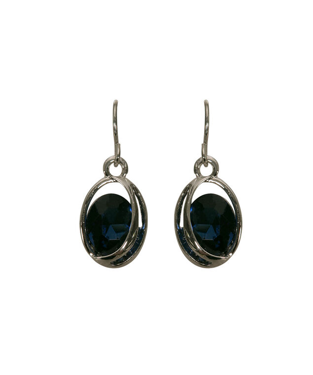 Swirl Framed Faceted Stone Earring, Deep Sapphire/Rhodium, hi-res