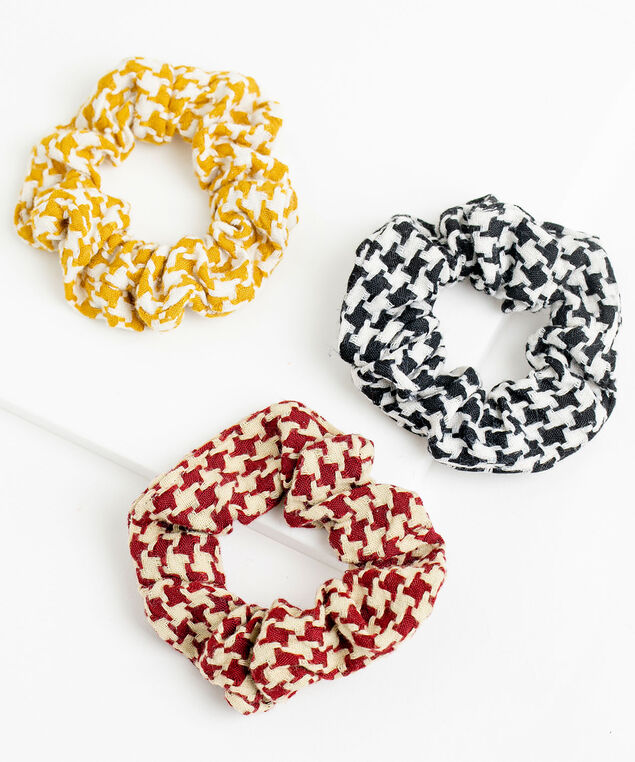 Houndstooth Scrunchie 3-Pack, Red/Yellow/Black