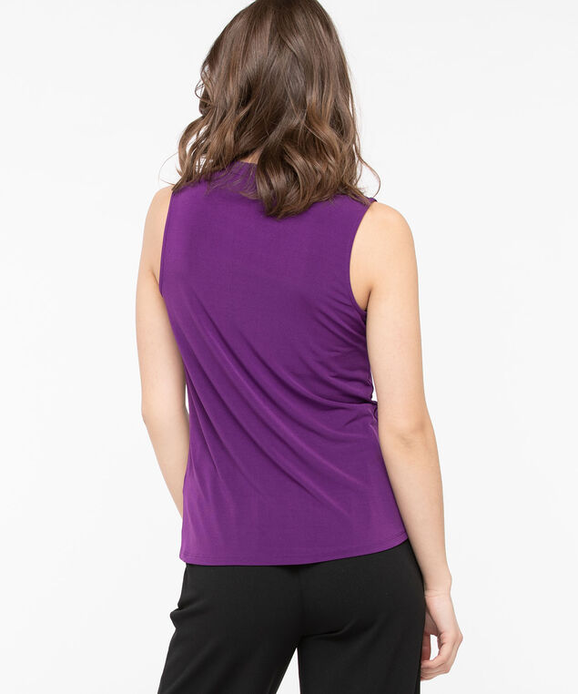 Sleeveless Split Neck Top, Purple, hi-res