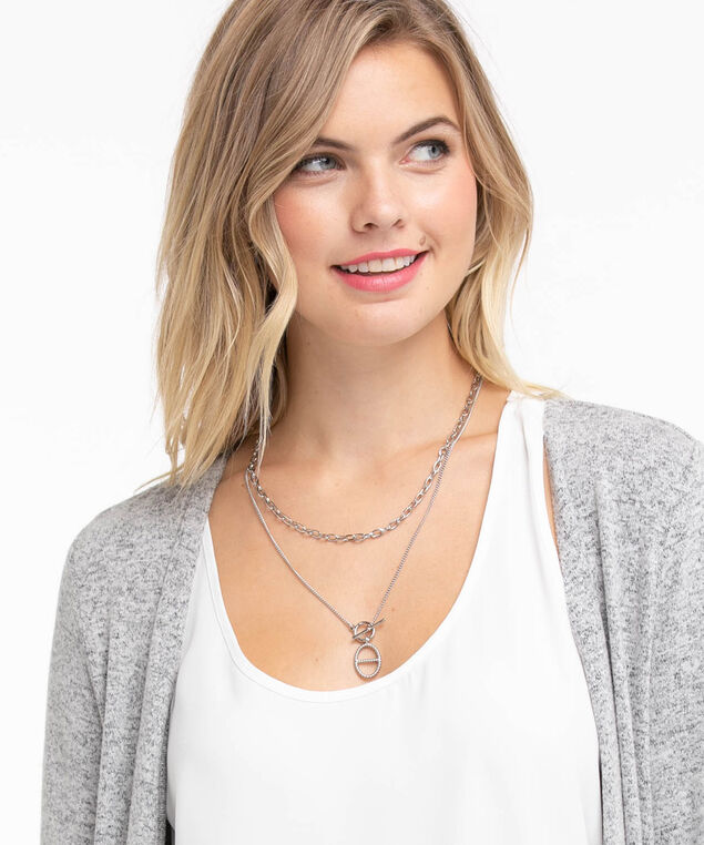 Silver Chain Layered Necklace, Rhodium