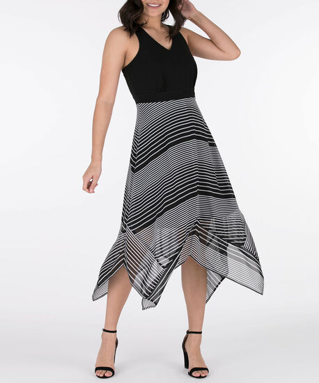 Cut-out Back Sharkbite Hem Dress, Black/Grey, hi-res