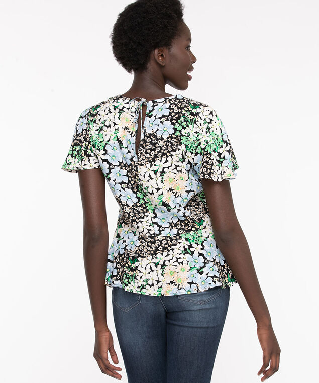 Flutter Sleeve Peplum Blouse, Willow Bough Floral