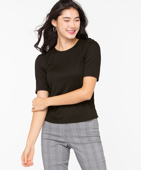 Puff Sleeve Rib Knit Top, Black, hi-res