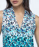 Sleeveless Pleat Front V-Neck Top, White/Black/Teal/Blue, hi-res