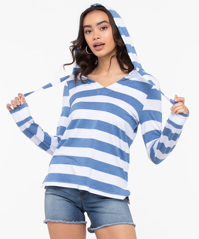 Striped Long Sleeve Hooded Pullover, Pale Blue/True White, hi-res