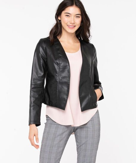 Faux Leather Snake Skin Blazer, Black, hi-res