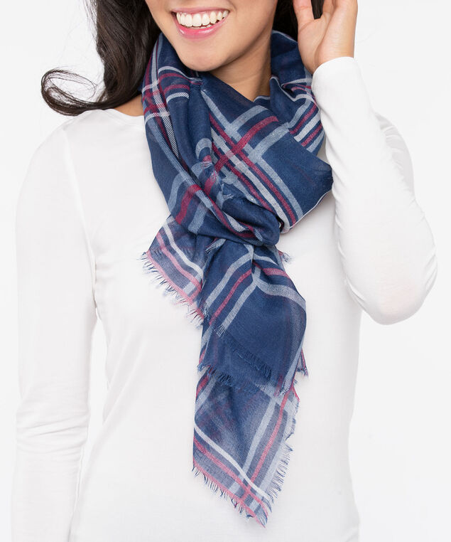 Plaid Oblong Scarf, Steel Blue/Burgundy/Pearl, hi-res