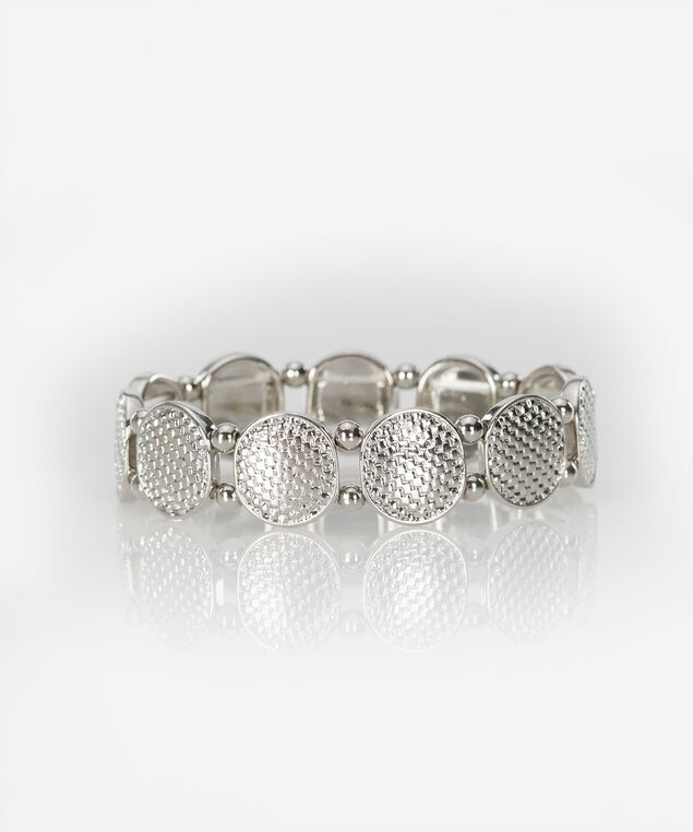 Textured Metal Disc Stretch Bracelet, Rhodium, hi-res