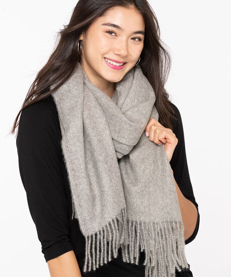 Grey Fringe Trim Blanket Scarf, Grey Mix, hi-res