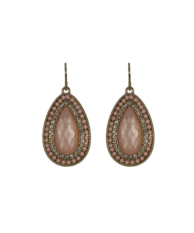 Faceted Stone Teardrop Earring, Pastel Pink/Soft Gold, hi-res