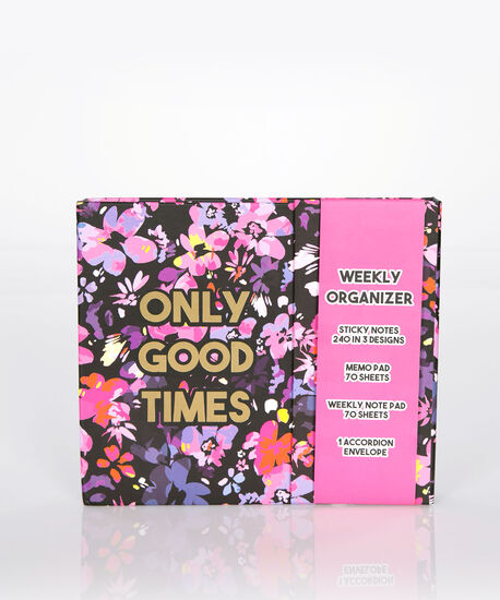 Only Good Times Weekly Organizer, Black/Pink/Gold, hi-res
