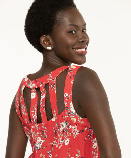 Sleeveless Cut-Out Detail Blouse, Poppy Red Floral, hi-res