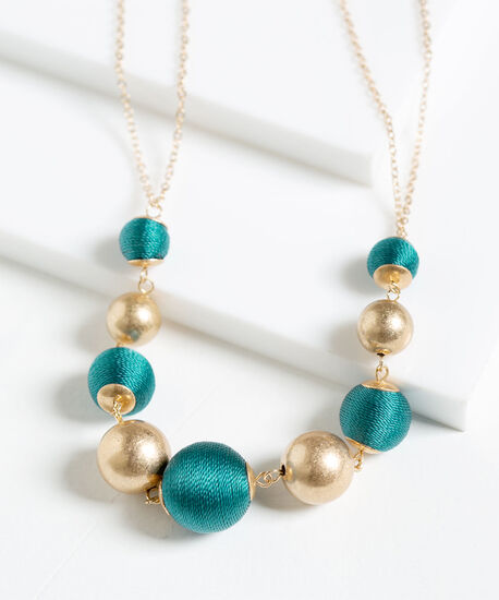 Thread Wrapped Statement Necklace, Teal/Gold, hi-res