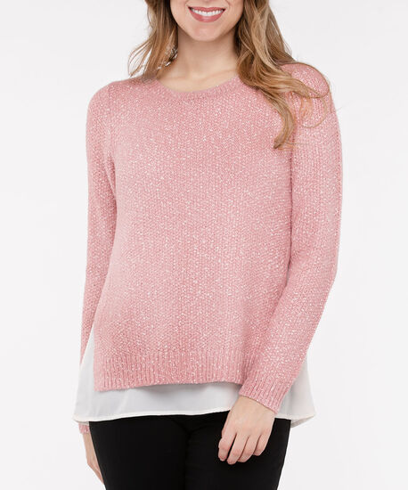Speckled Pullover Fooler Sweater, Dusty Blush/Pearl, hi-res