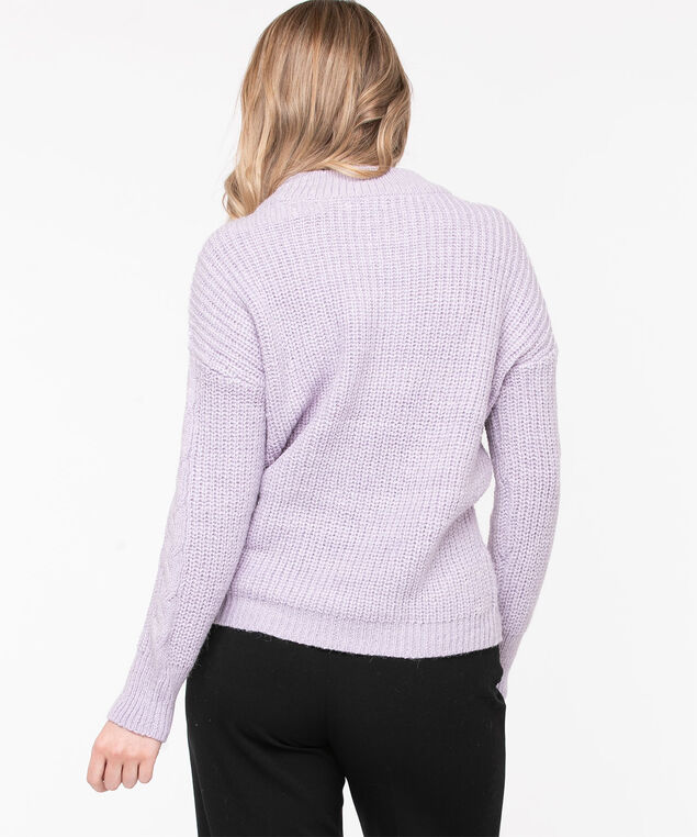 Open Stitch Cable Knit Sweater, Lilac, hi-res