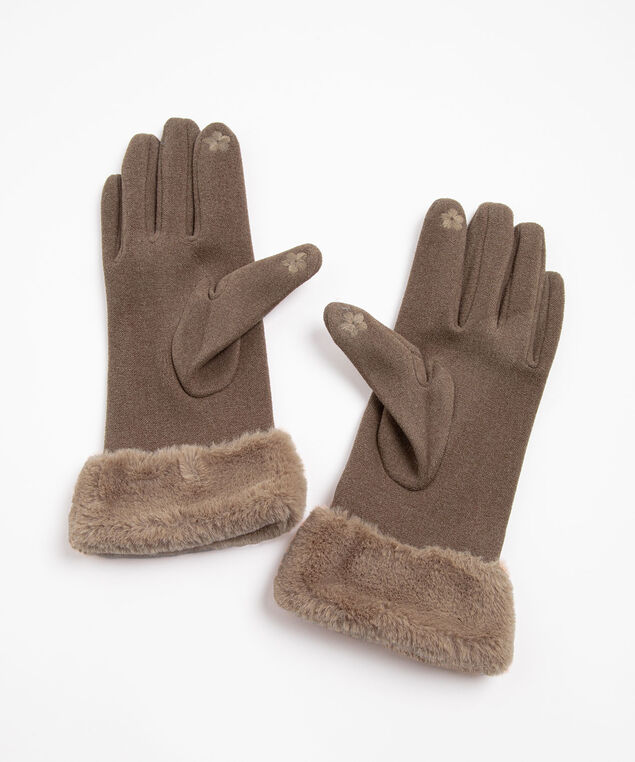 Faux Fur Texting Mitten, Taupe
