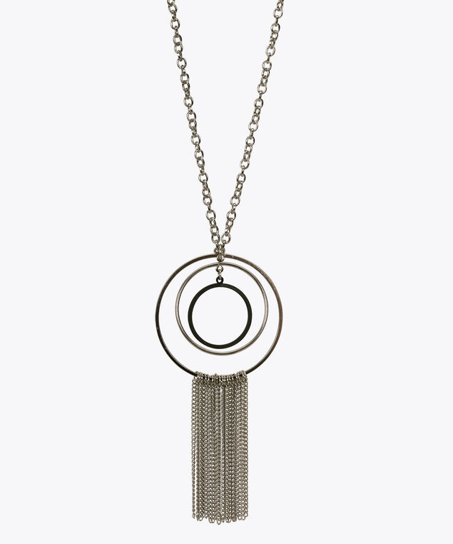 O-Ring &Tassle Necklace Set, Black/Rhodium, hi-res