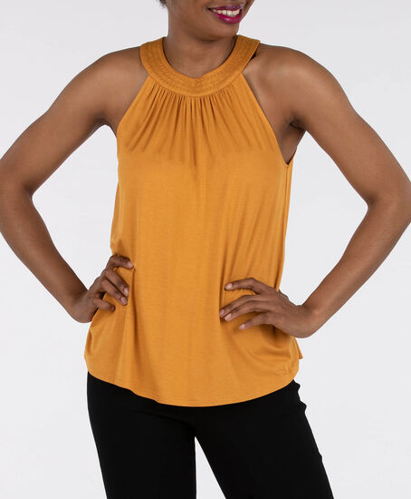 Sleeveless Halter Neck Top, Mustard, hi-res
