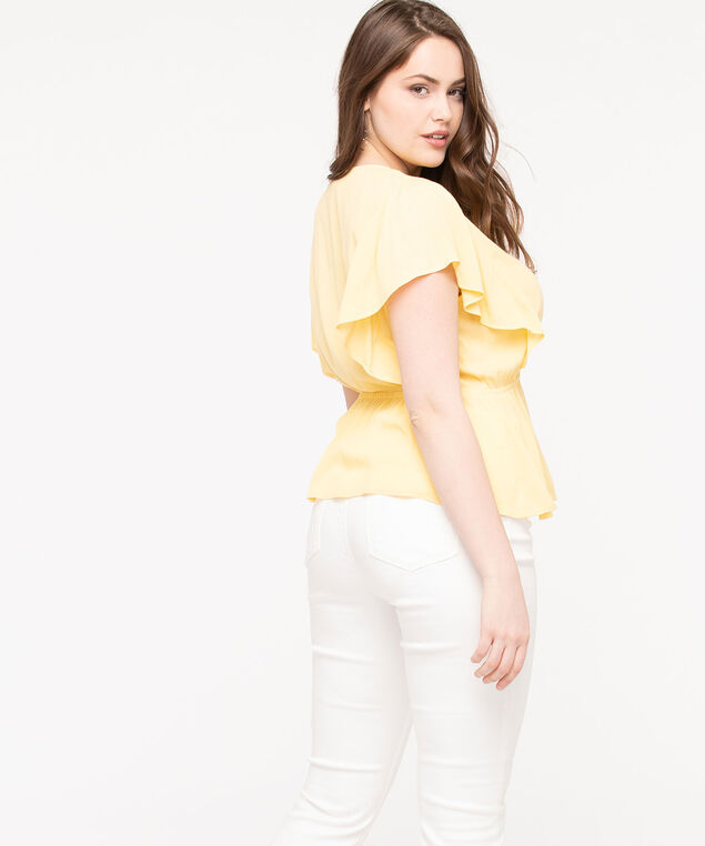 Flutter Sleeve Peplum Blouse, Lemon, hi-res