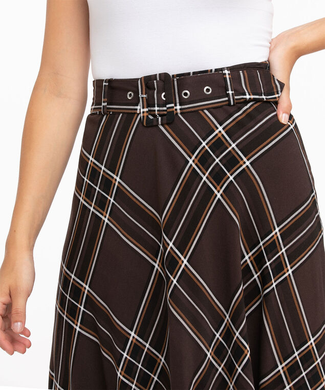 Belted Circle Skirt, Brown Plaid
