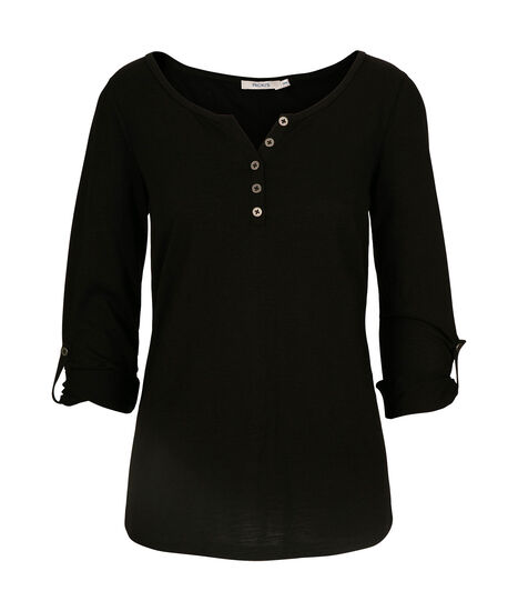Roll Cuff Henley Top, Black, hi-res
