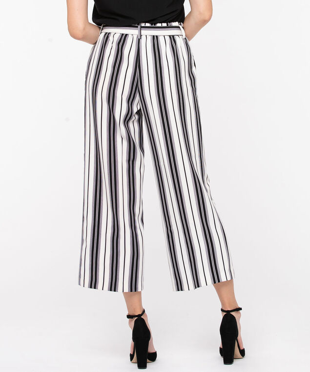 Striped Wide Leg Gaucho, Black/Pearl