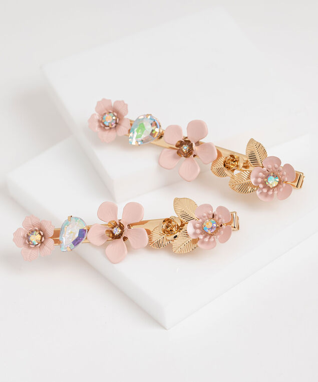 Pink Floral Hair Clip Set, Gold/Pink/Opal