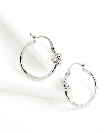 Knotted Hoop Earring, Silver, hi-res