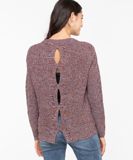Cut Out Cable Knit Pullover, Rust Mix, hi-res