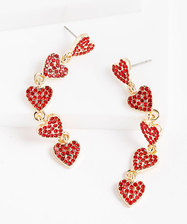 Red Crystal Hearts Drop Earring, Cherry Red/Gold