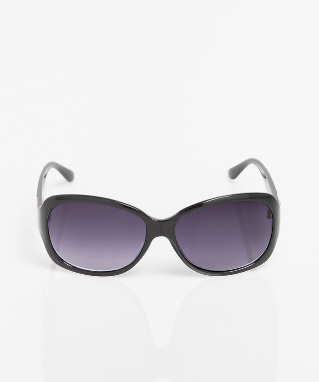 Silver Square Detail Sunglasses, Black, hi-res